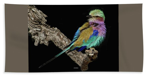 Bath Towel featuring the photograph Lilac-breasted Roller by Larry Linton