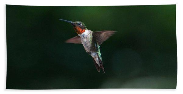 Male Ruby Throated Hummingbird Hand Towel
