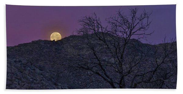 Moon Set At Sunrise Hand Towel