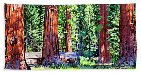 Mystical Giant Sequoias Cabin Bath Towel