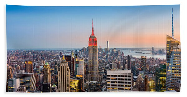 Hand Towel featuring the photograph New York Skyline Panorama by Mihai Andritoiu