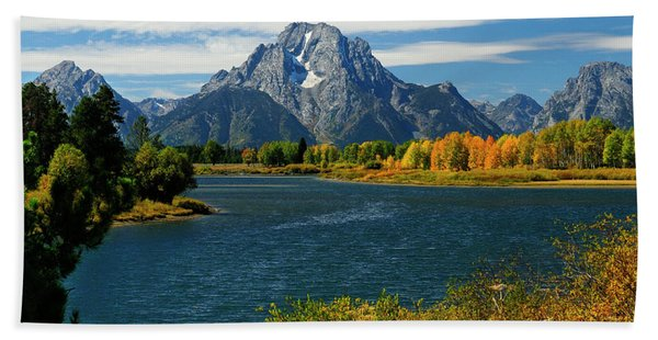 Bath Towel featuring the photograph Oxbow Bend In Autumn by Greg Norrell