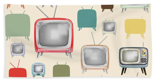 retro TV pattern  Hand Towel