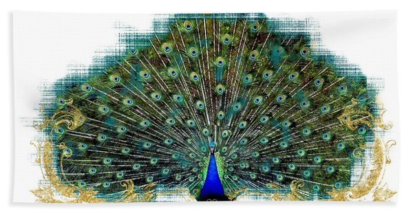 Scroll Swirl Art Deco Nouveau Peacock W Tail Feathers Spread Hand Towel