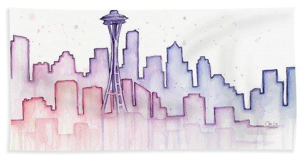 Seattle Skyline Watercolor Bath Towel