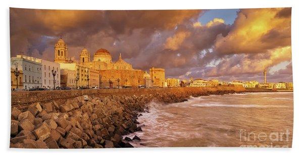 Skyline From Campo Del Sur Cadiz Spain Bath Towel