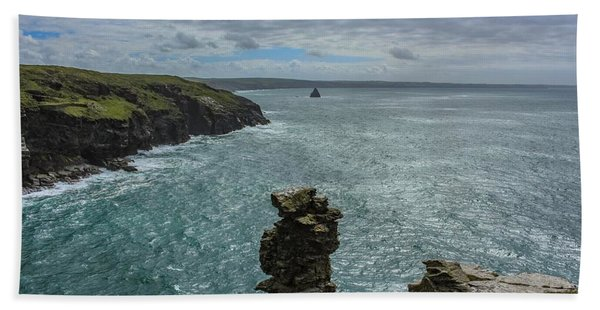 View From The Cliffs At Tintagel  Bath Towel