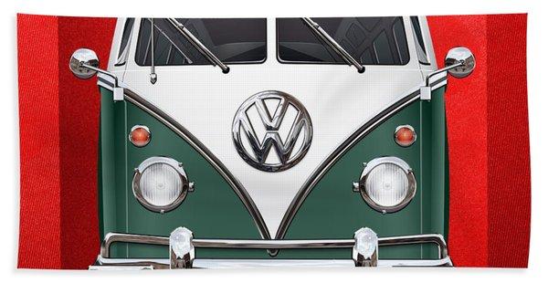 Volkswagen Type 2 - Green And White Volkswagen T 1 Samba Bus Over Red Canvas  Bath Towel