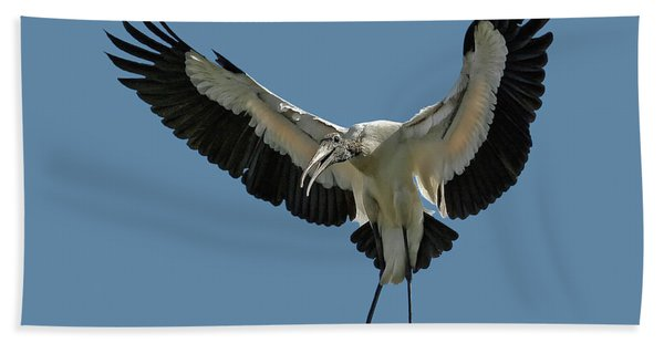 Bath Towel featuring the photograph Wood Stork by Larry Linton