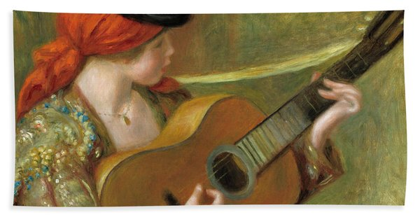 Young Spanish Woman With A Guitar Bath Towel