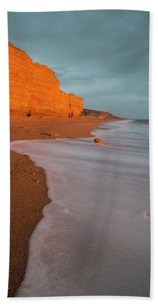 Beautiful Vibrant Sunset Landscape Image Of Burton Bradstock Gol Hand Towel