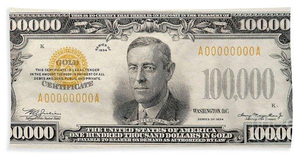 $100,000 Bill Circa 1934 Hand Towel