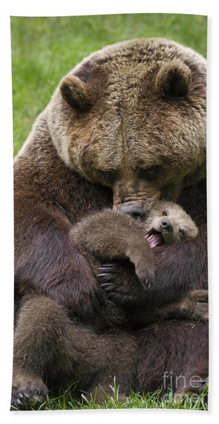 Mother Bear Cuddling Cub Hand Towel