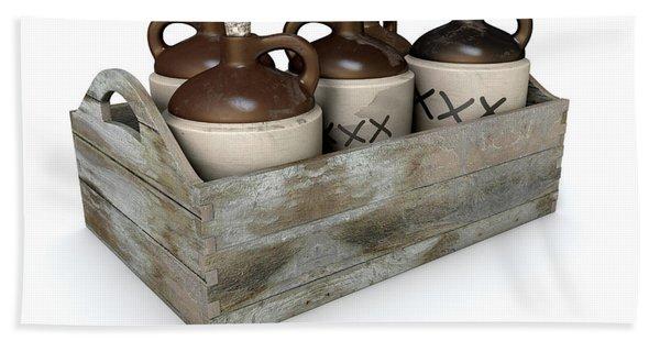 Moonshine In Wooden Crate Bath Towel