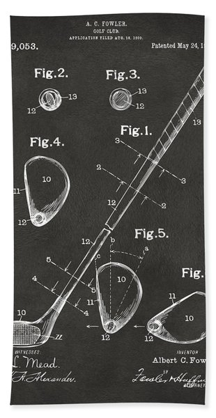 1910 Golf Club Patent Artwork - Gray Bath Towel