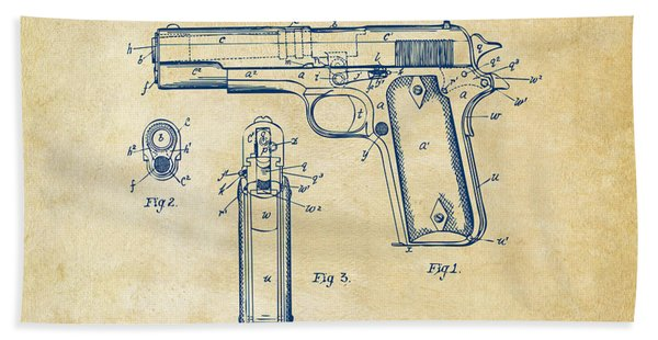 1911 Colt 45 Browning Firearm Patent Artwork Vintage Bath Towel