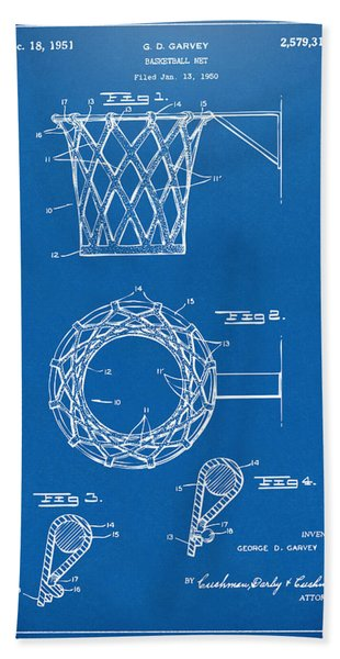 1951 Basketball Net Patent Artwork - Blueprint Bath Towel