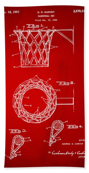 1951 Basketball Net Patent Artwork - Red Bath Towel