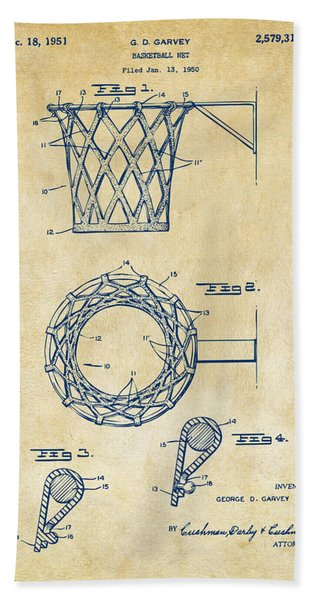 1951 Basketball Net Patent Artwork - Vintage Bath Towel