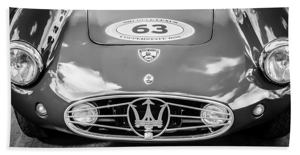 Hand Towel featuring the photograph 1954 Maserati A6 Gcs -0255bw by Jill Reger