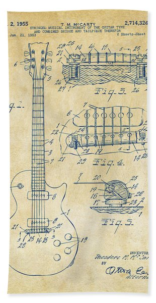 1955 Mccarty Gibson Les Paul Guitar Patent Artwork Vintage Bath Towel