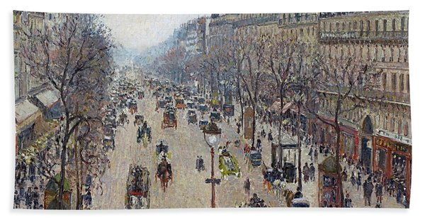 Boulevard Montmartre, Morning, Cloudy Weather Bath Towel