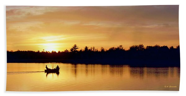 Fishermen On A Lake At Sunset Hand Towel