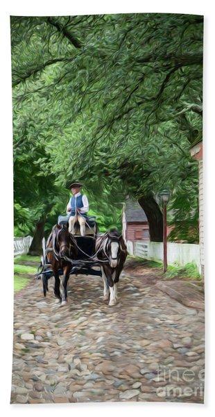 Horse Drawn Wagon Bath Towel