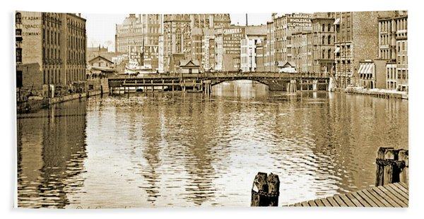 Kilbourn Avenue Bridge, Milwaukee River, C.1915, Vintage Photogr Hand Towel