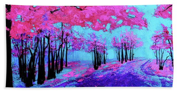 Purple Magenta, Forest, Modern Impressionist, Palette Knife Painting Hand Towel