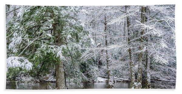 March Snow Along Cranberry River Bath Towel