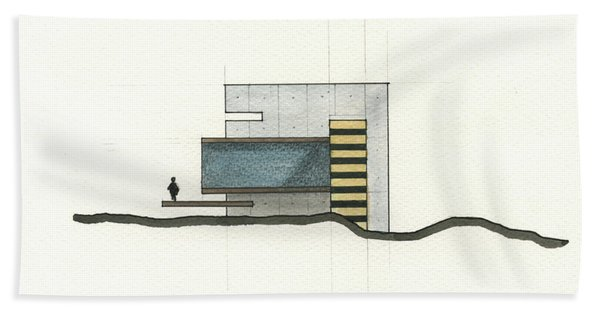 Architectural Drawing Bath Towel