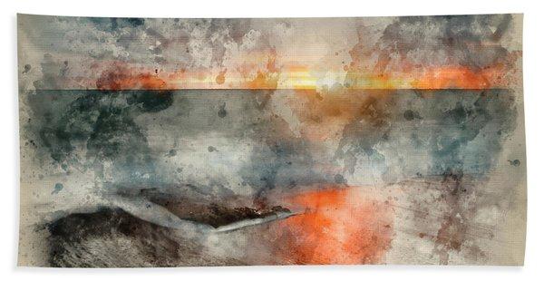 Digital Watercolor Painting Of Beautiful Vibrant Sunset Landscap Hand Towel