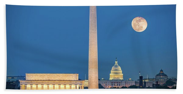 Hand Towel featuring the photograph 4 Monuments by Mihai Andritoiu