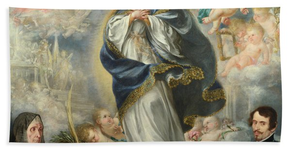 The Immaculate Conception With Two Donors Bath Towel