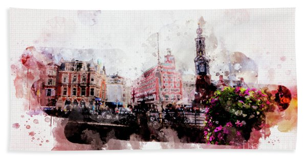 City Life In Watercolor Style  Bath Towel