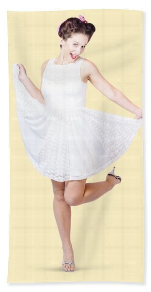 50s Pinup Woman In White Dress Dancing Hand Towel