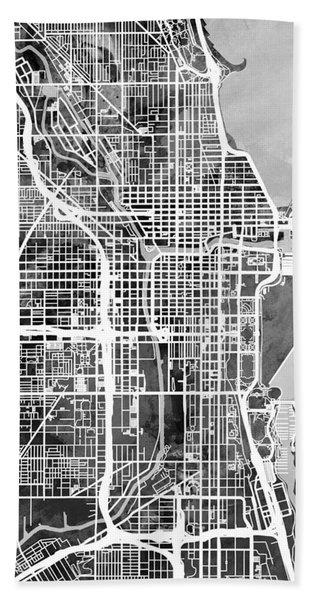 Chicago City Street Map Hand Towel