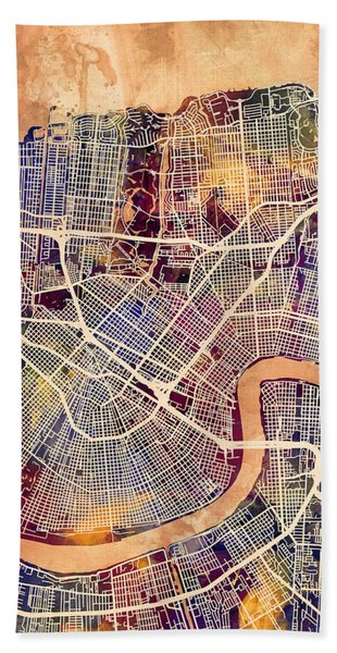 New Orleans Street Map Bath Towel