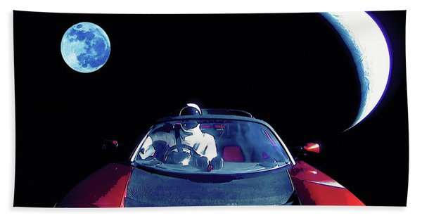 Starman In Tesla Roadster With Planet Earth Traveling In The Space Hand Towel