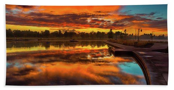 Hand Towel featuring the photograph A Fall Sunrise by John De Bord