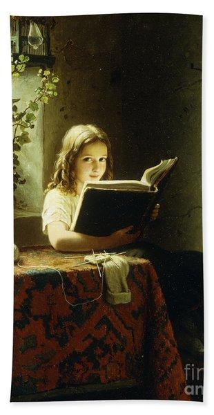 A Girl Reading Bath Towel