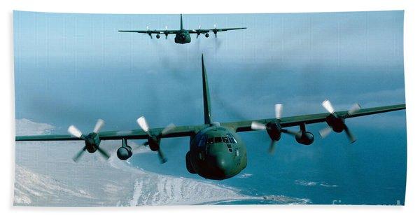 A Pair Of C-130 Hercules In Flight Bath Towel