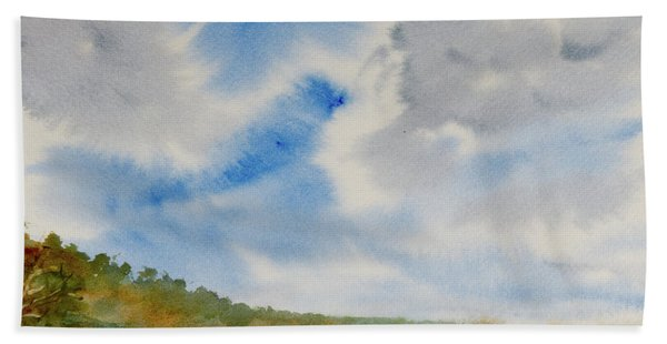 A Secluded Inlet Beneath Billowing Clouds Hand Towel