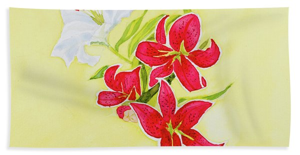 A Study Of Lilies Hand Towel