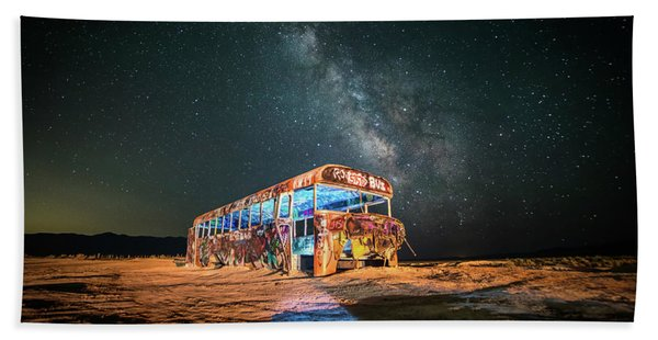Hand Towel featuring the photograph Abandoned Bus Under The Milky Way by James Udall