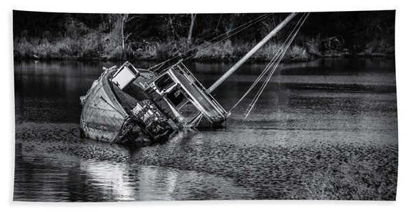 Abandoned Ship In Monochrome Bath Towel