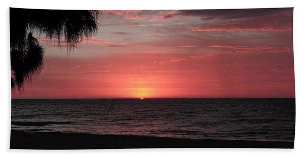 Abstract Beach Palm Tree Sunset Bath Towel