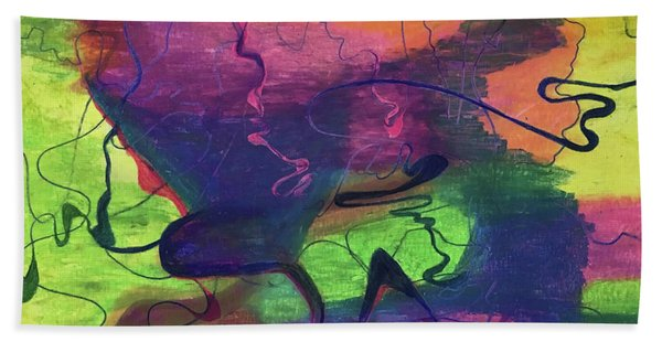 Colorful Abstract Cloud Swirling Lines Hand Towel