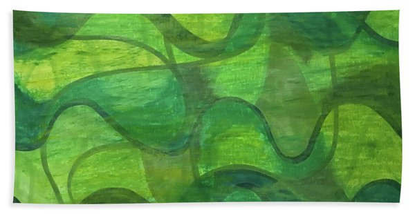 Abstract Green Wave Connection Hand Towel